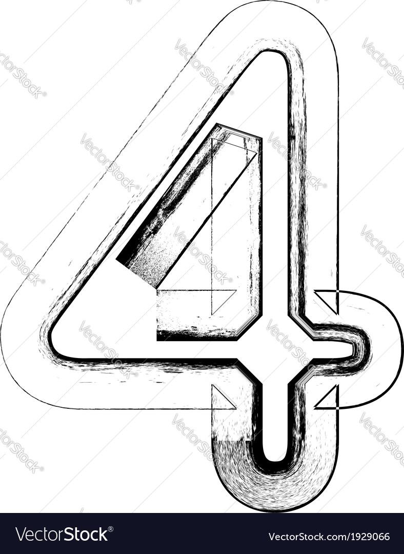 Grunge font number 4 vector | Price: 1 Credit (USD $1)