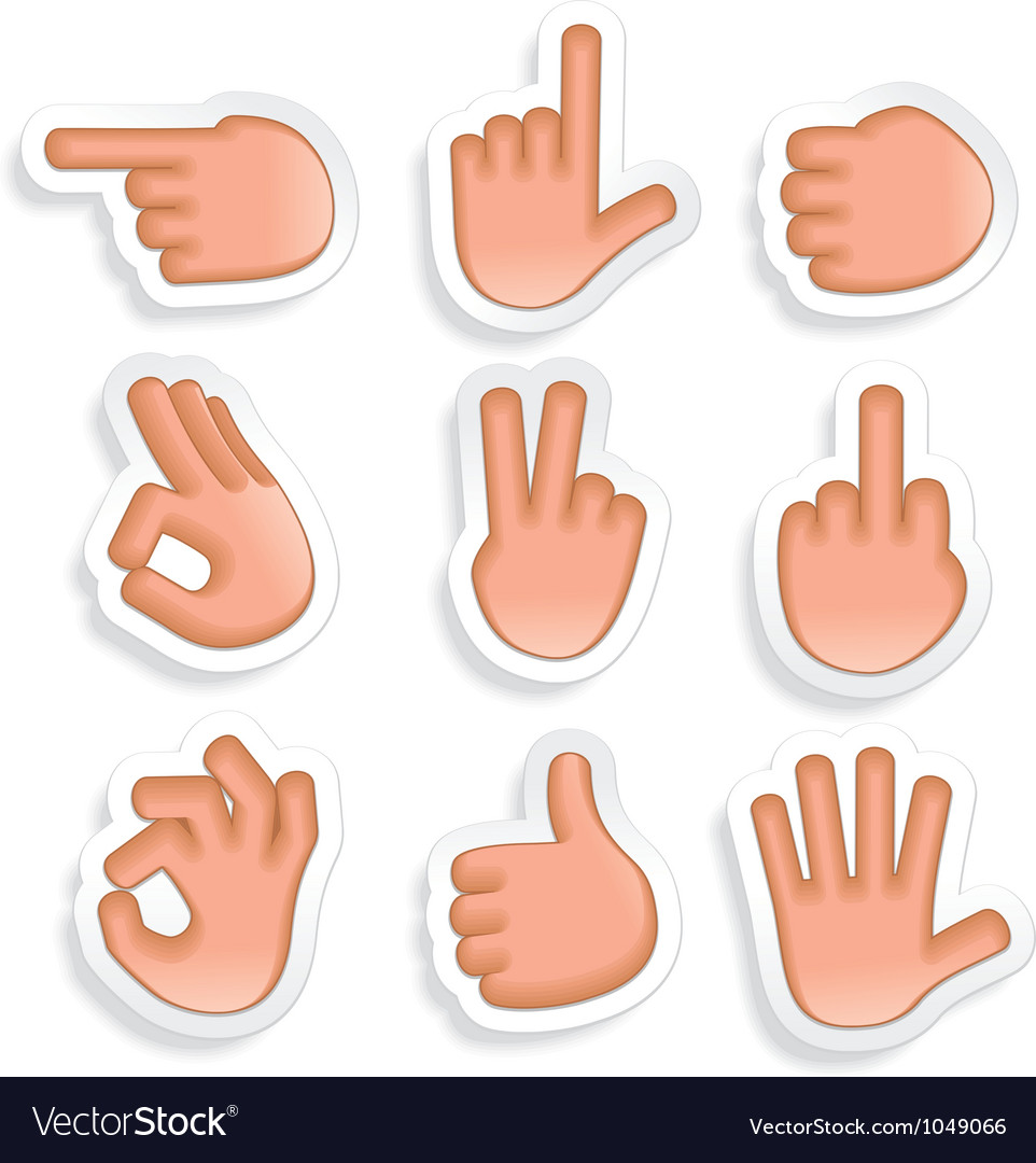 Hand gestures icon set 2 vector | Price: 1 Credit (USD $1)