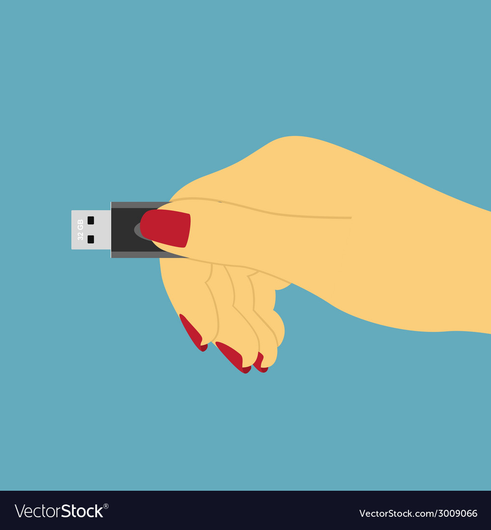 Hand with usb vector | Price: 1 Credit (USD $1)