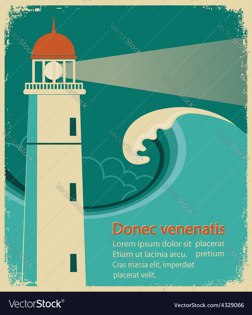Lighthouse poster for text on old paper vector | Price: 1 Credit (USD $1)