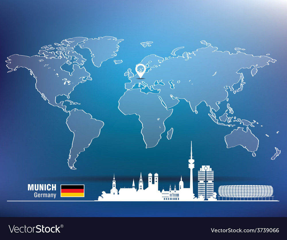 Map pin with munich skyline vector | Price: 1 Credit (USD $1)