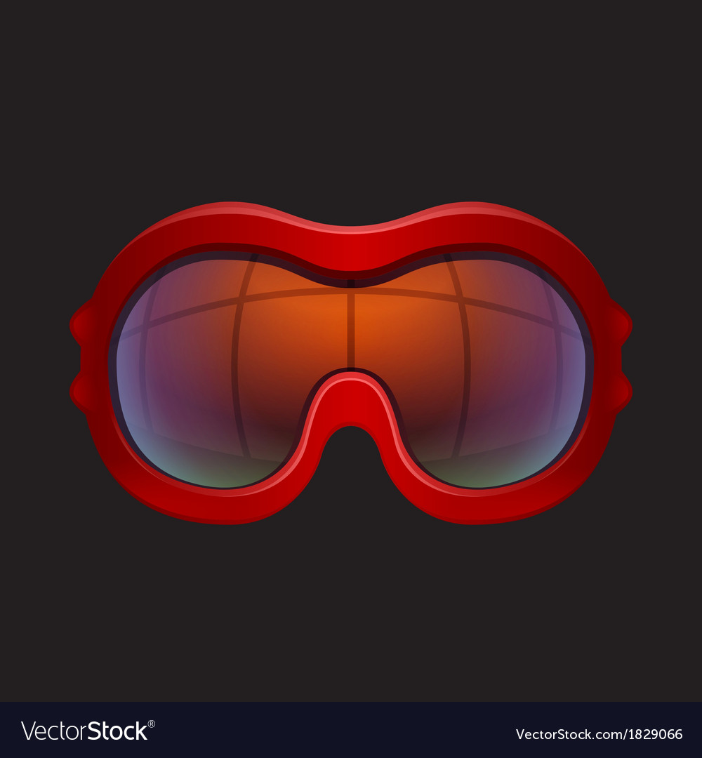 Red tinted ski goggles vector | Price: 1 Credit (USD $1)