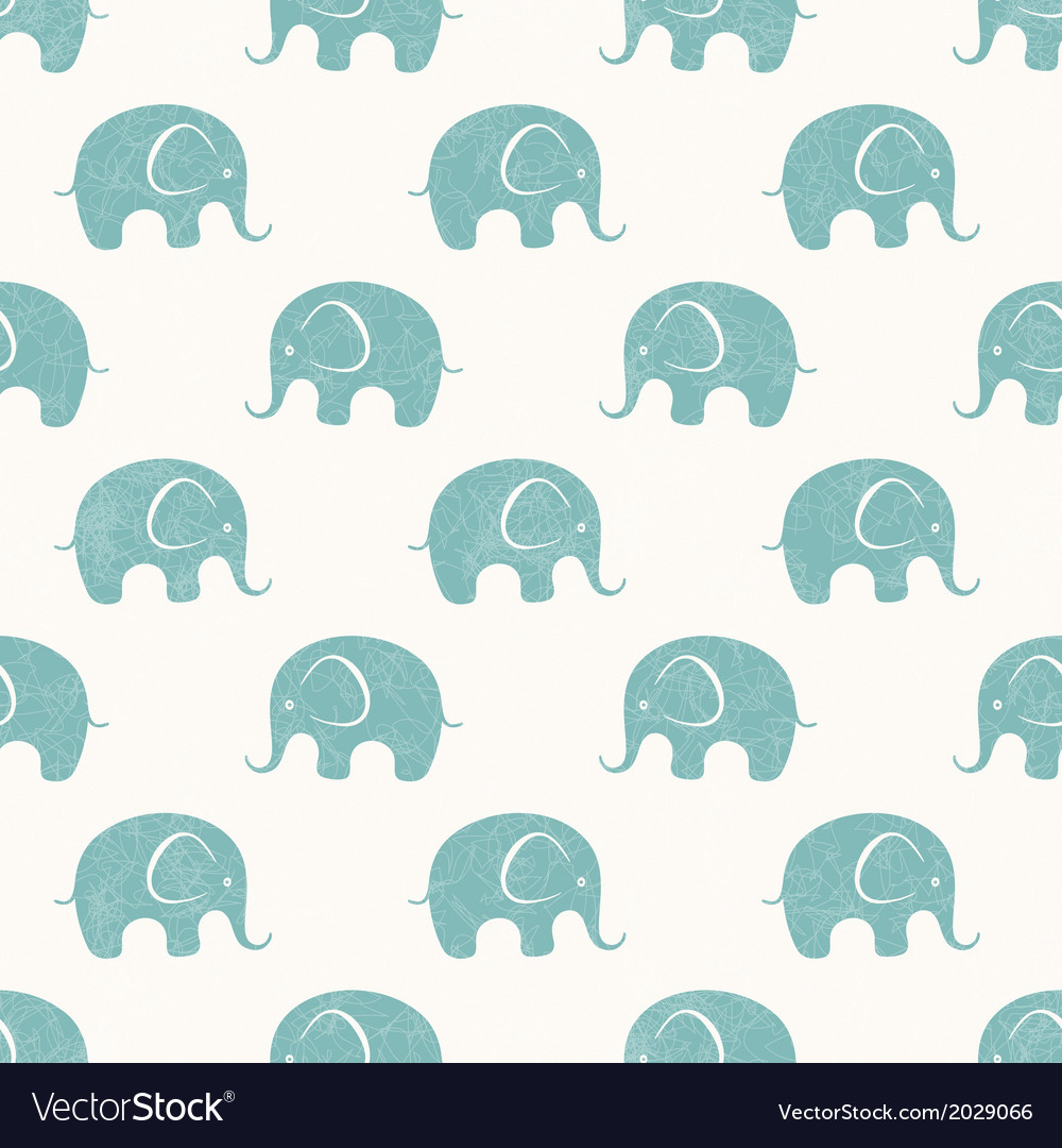 Seamless print with cute little elephants vector | Price: 1 Credit (USD $1)