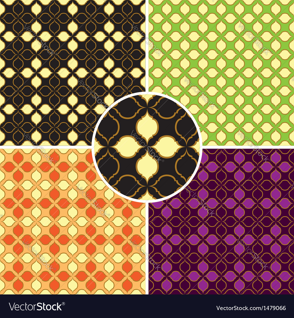 Set of four retro seamless patterns vector | Price: 1 Credit (USD $1)