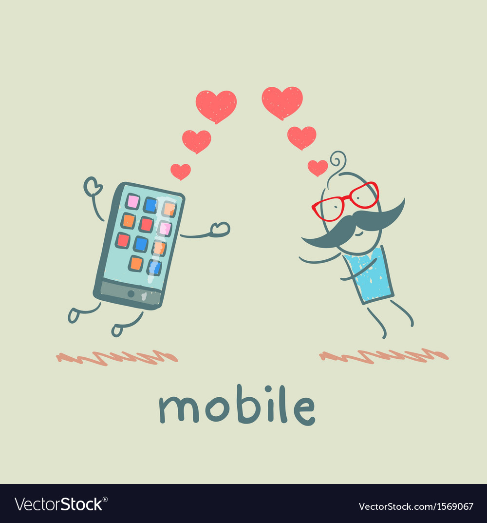 A man in love with mobile vector | Price: 1 Credit (USD $1)