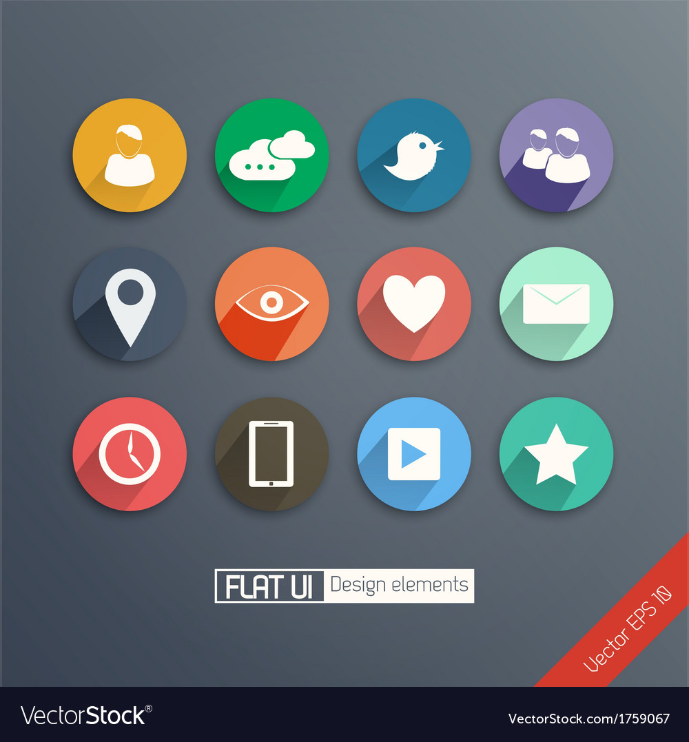 Flat icon set vector | Price: 1 Credit (USD $1)