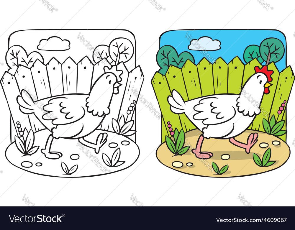 Funny chicken coloring book vector | Price: 1 Credit (USD $1)