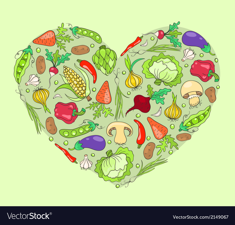 Heart from vegetables on green vector | Price: 1 Credit (USD $1)