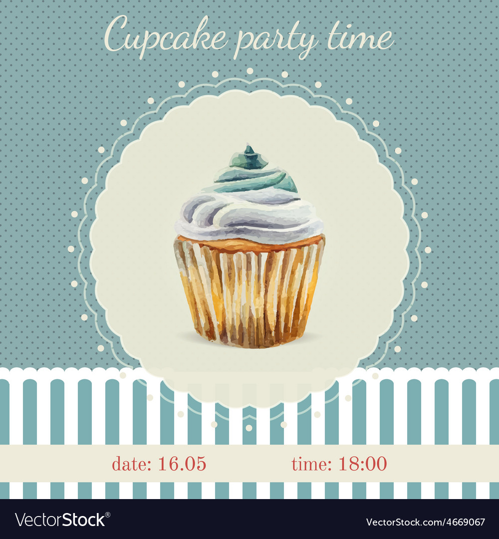 Invitation template with watercolor cupcakes vector   Price: 1 Credit (USD $1)
