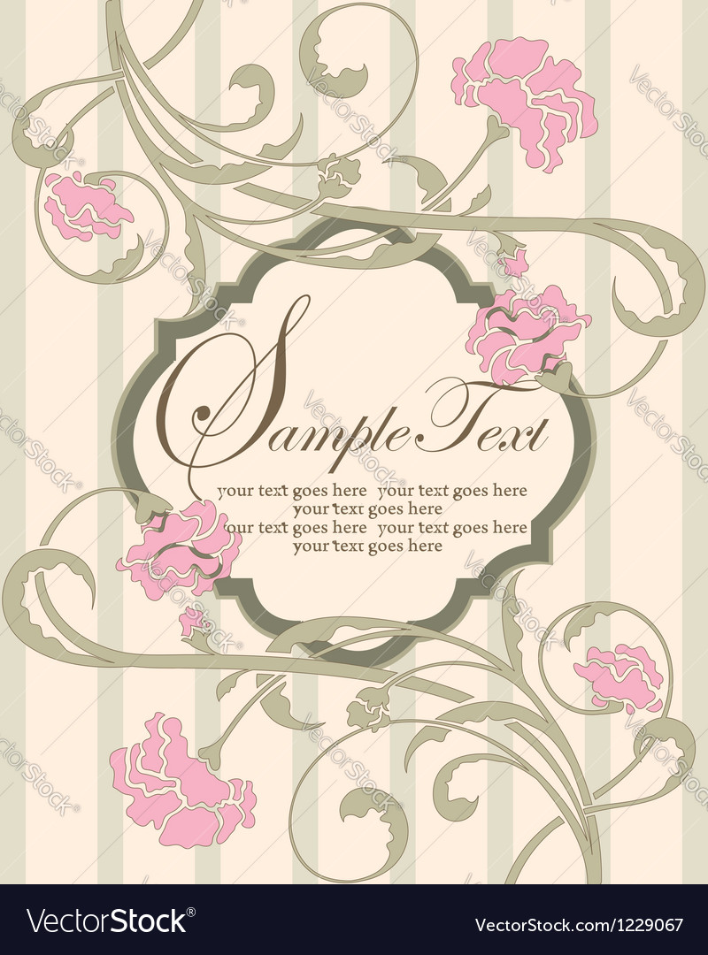 Invitation vintage card with pink flowers vector | Price: 1 Credit (USD $1)