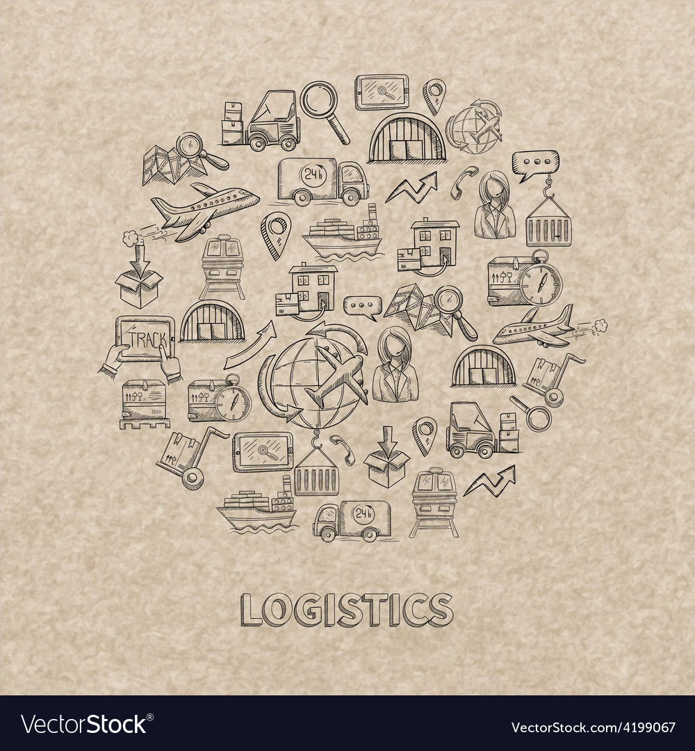 Logistic sketch icons vector | Price: 1 Credit (USD $1)
