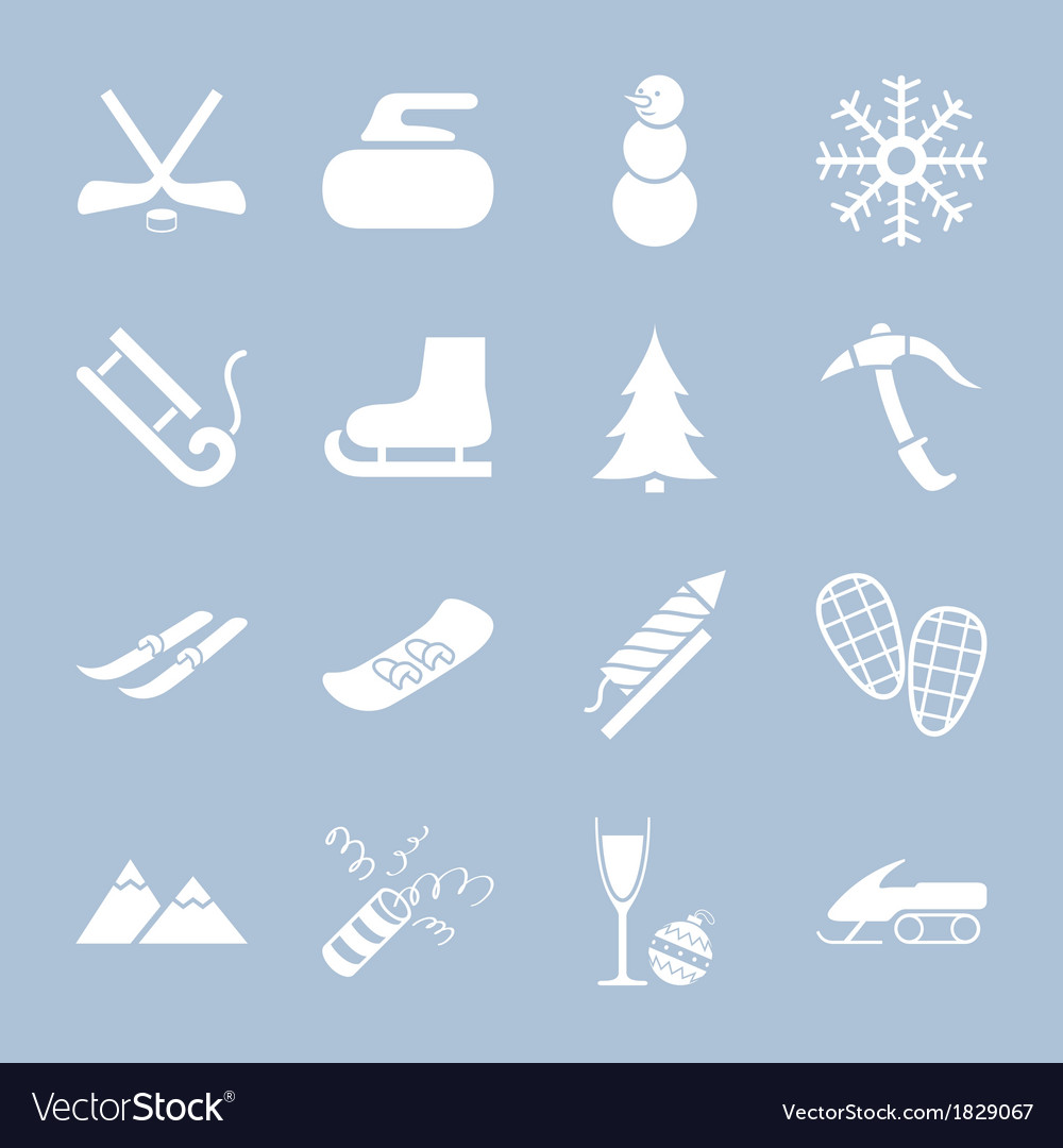 Many icons winter holiday vector | Price: 1 Credit (USD $1)