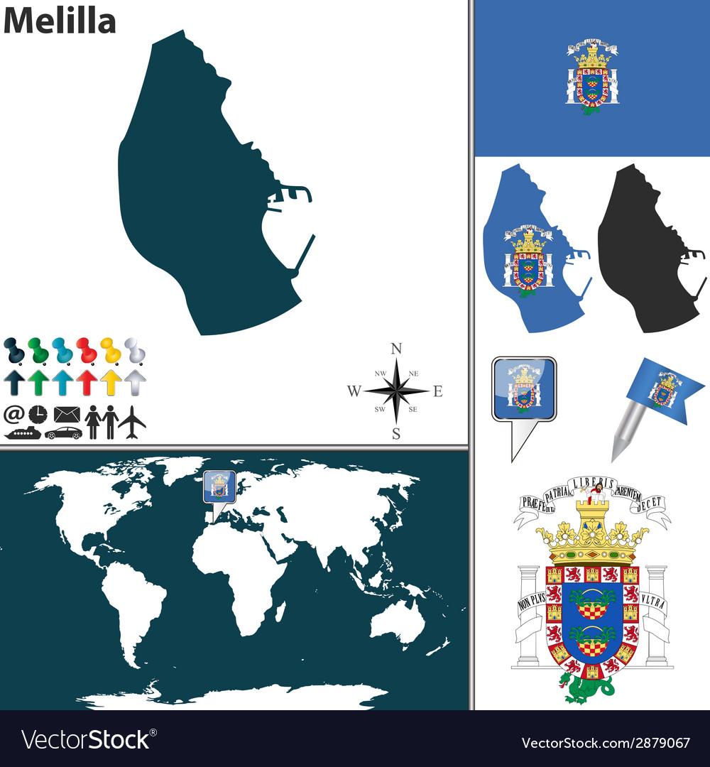 Melilla map world vector   Price: 1 Credit (USD $1)