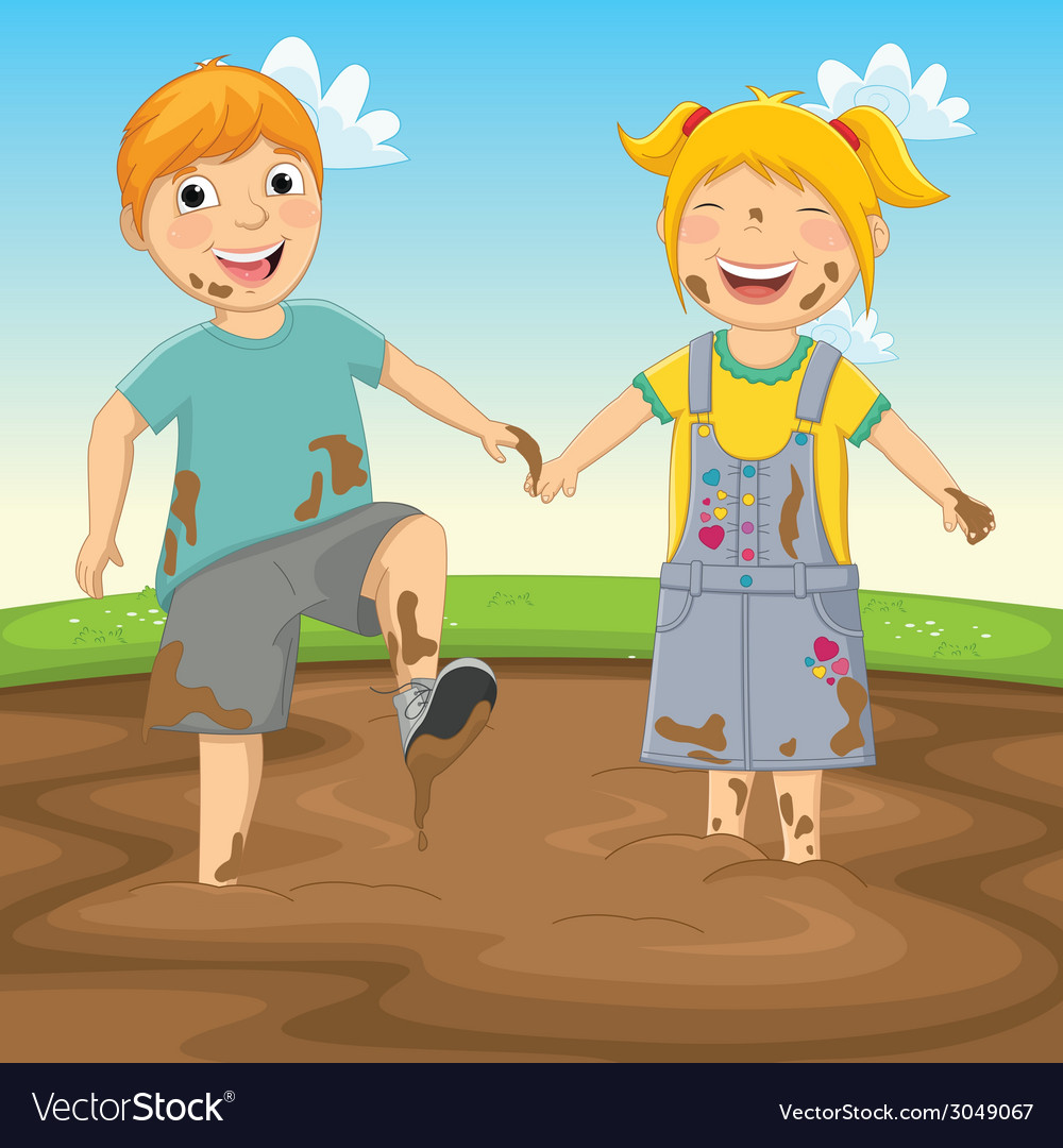 Of kids playing in mud vector | Price: 1 Credit (USD $1)
