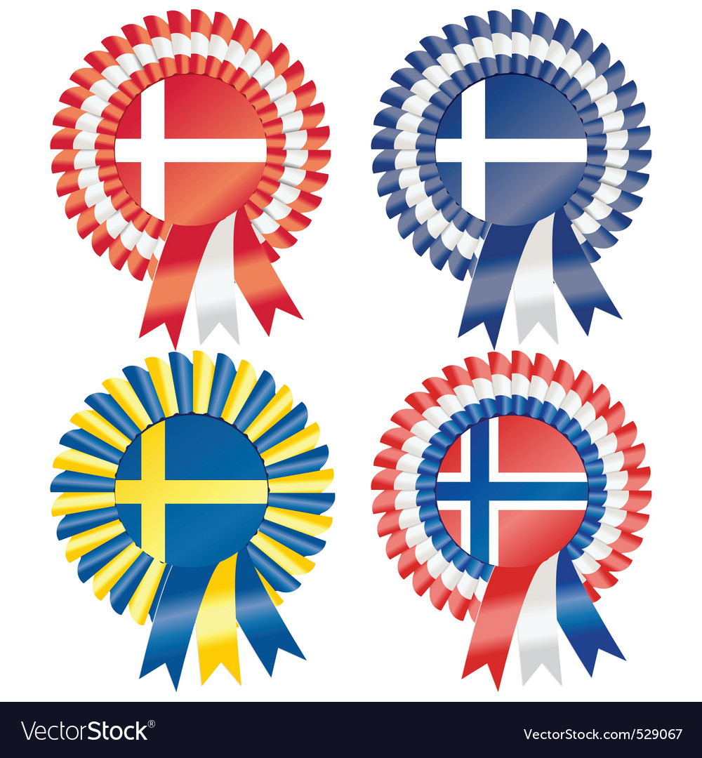 Rosettes to represent northern european countries vector | Price: 1 Credit (USD $1)
