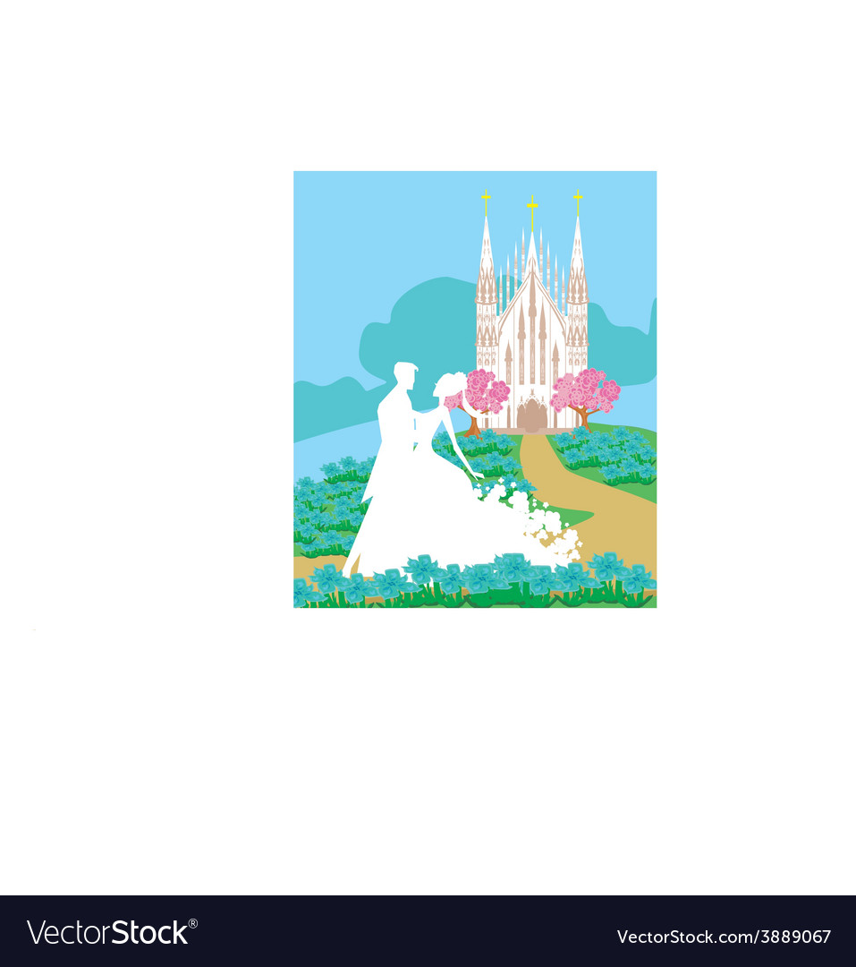 Wedding couple in front of a church vector | Price: 1 Credit (USD $1)