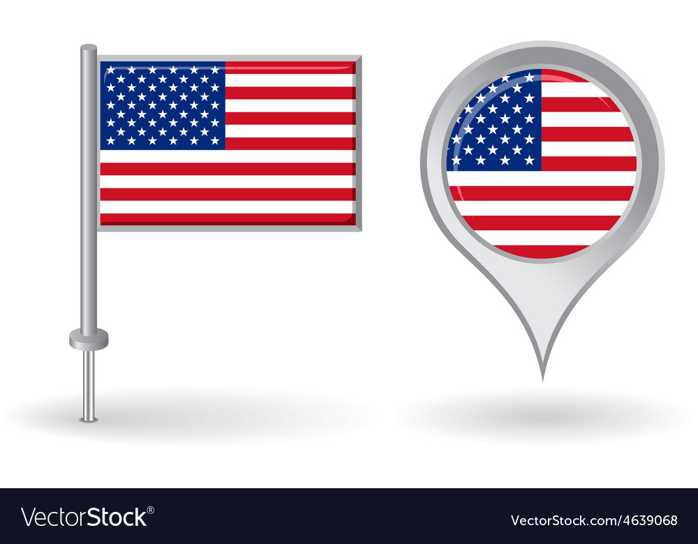 American pin icon and map pointer flag vector | Price: 1 Credit (USD $1)