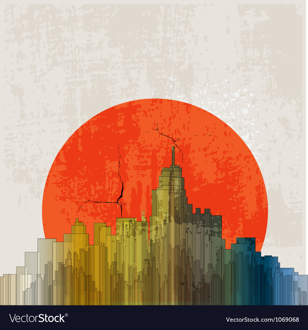 Apocalyptic retro poster sunset grunge background vector | Price: 1 Credit (USD $1)