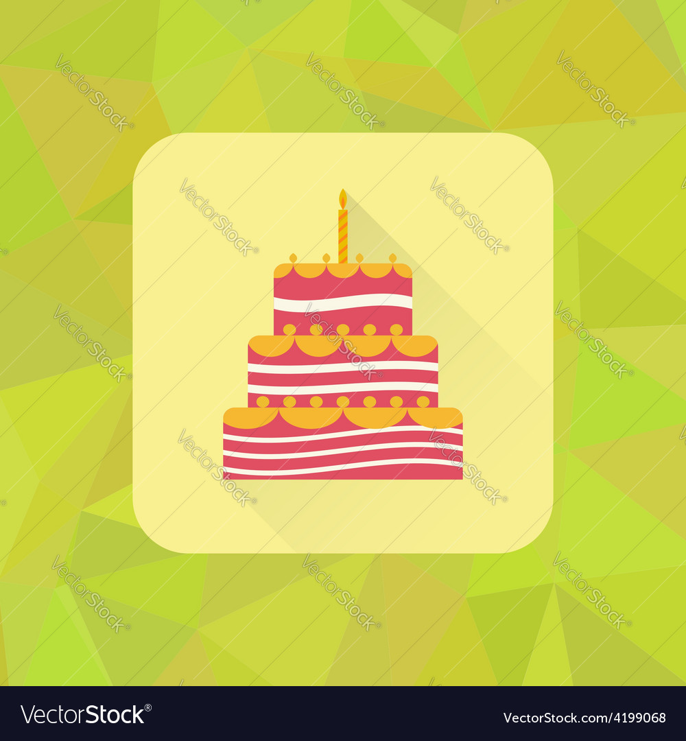 Birthday cake sign icon on polygonal triangle vector | Price: 1 Credit (USD $1)
