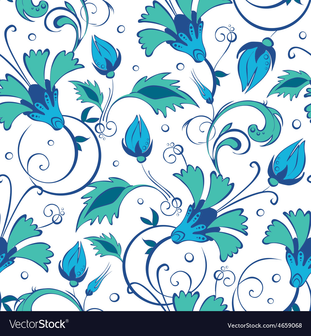 Blue green swirly flowers seamless pattern vector | Price: 1 Credit (USD $1)