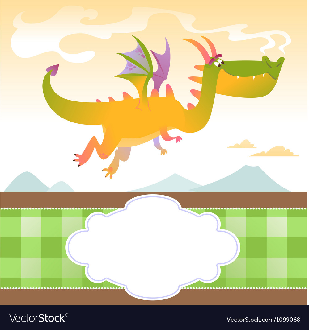 Card with fly dragon and mountains vector | Price: 1 Credit (USD $1)
