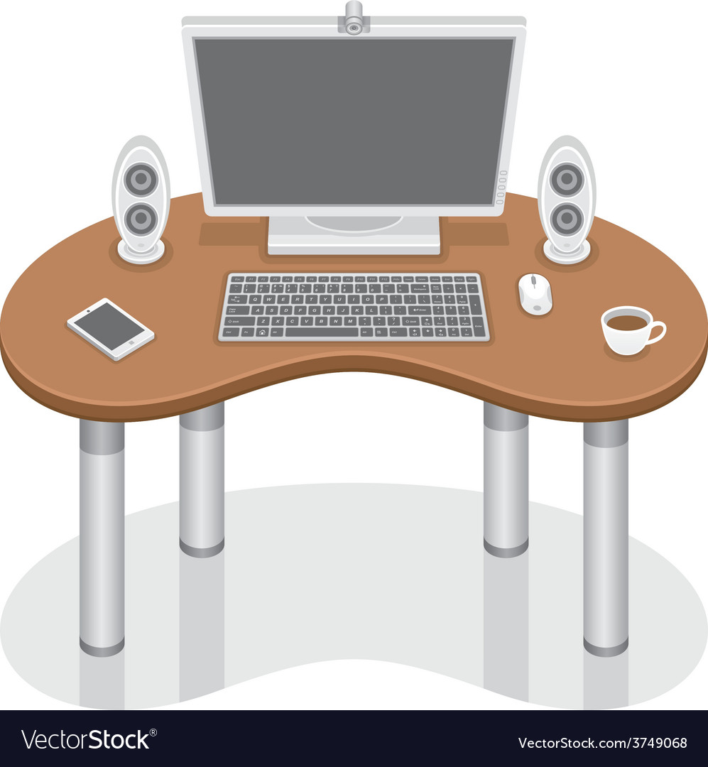 Computer desk vector | Price: 1 Credit (USD $1)