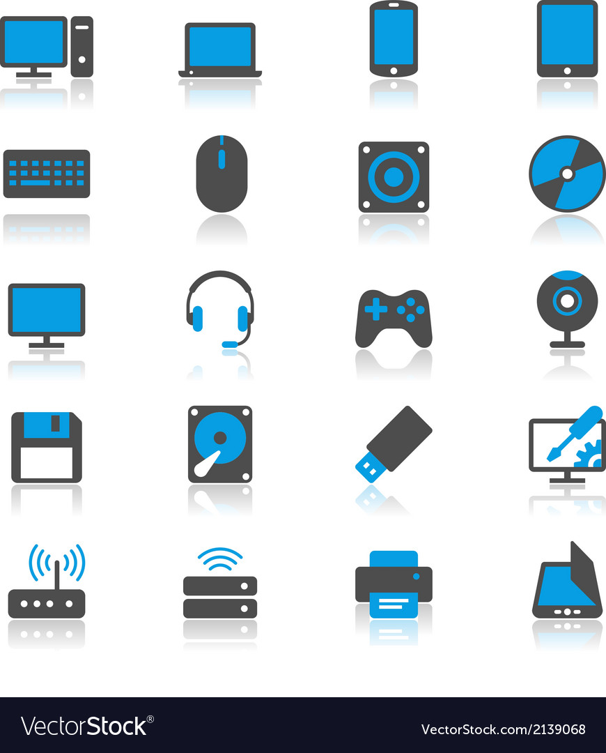 Computer flat with reflection icons vector | Price: 1 Credit (USD $1)