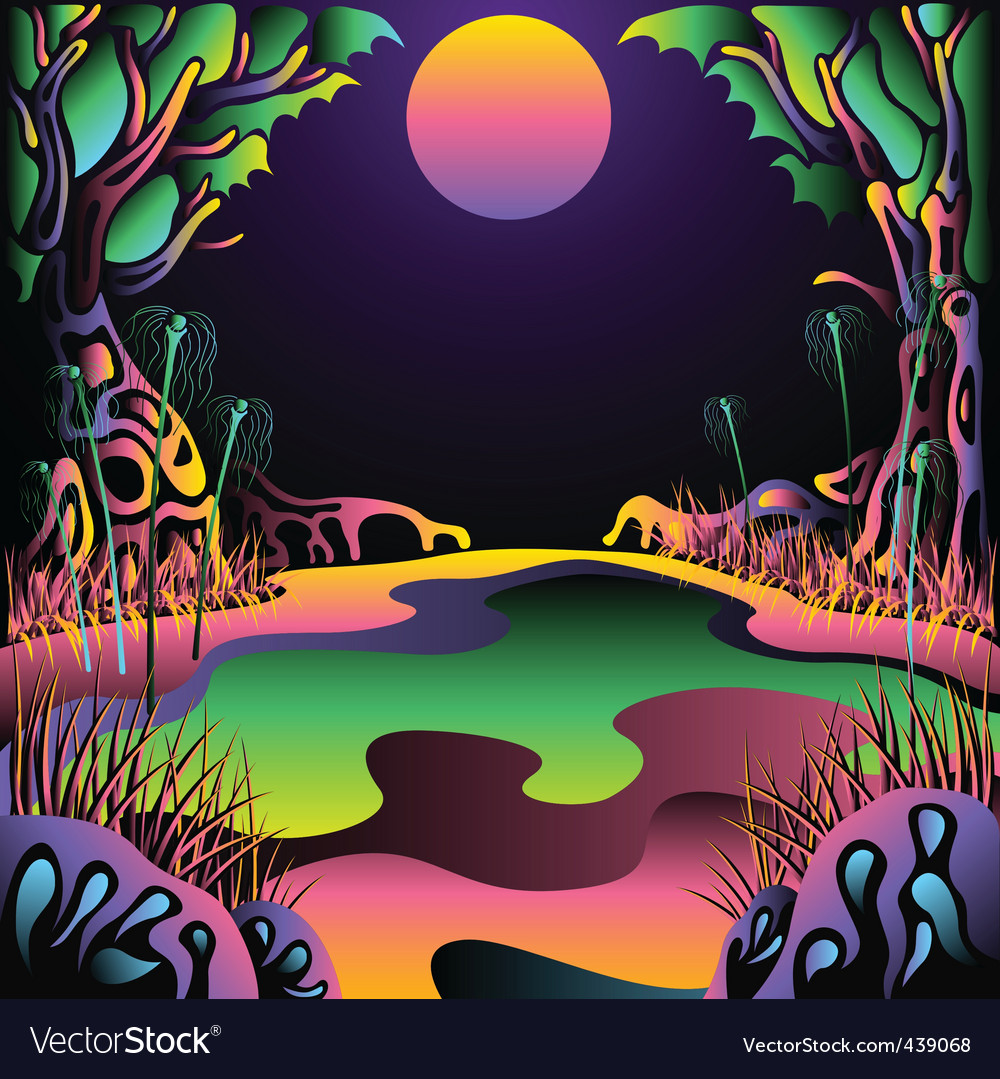 Delic forest landscape vector illustration vector | Price: 1 Credit (USD $1)
