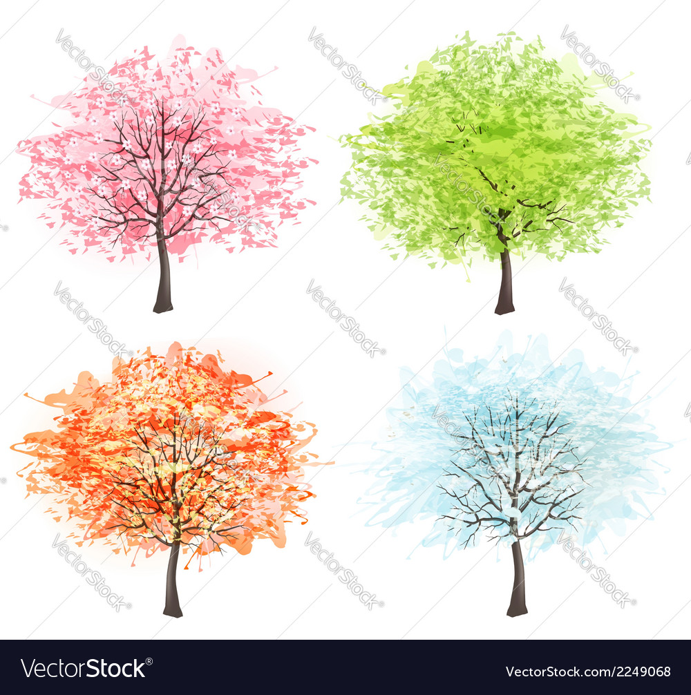 Four seasons - spring summer autumn winter art vector | Price: 1 Credit (USD $1)