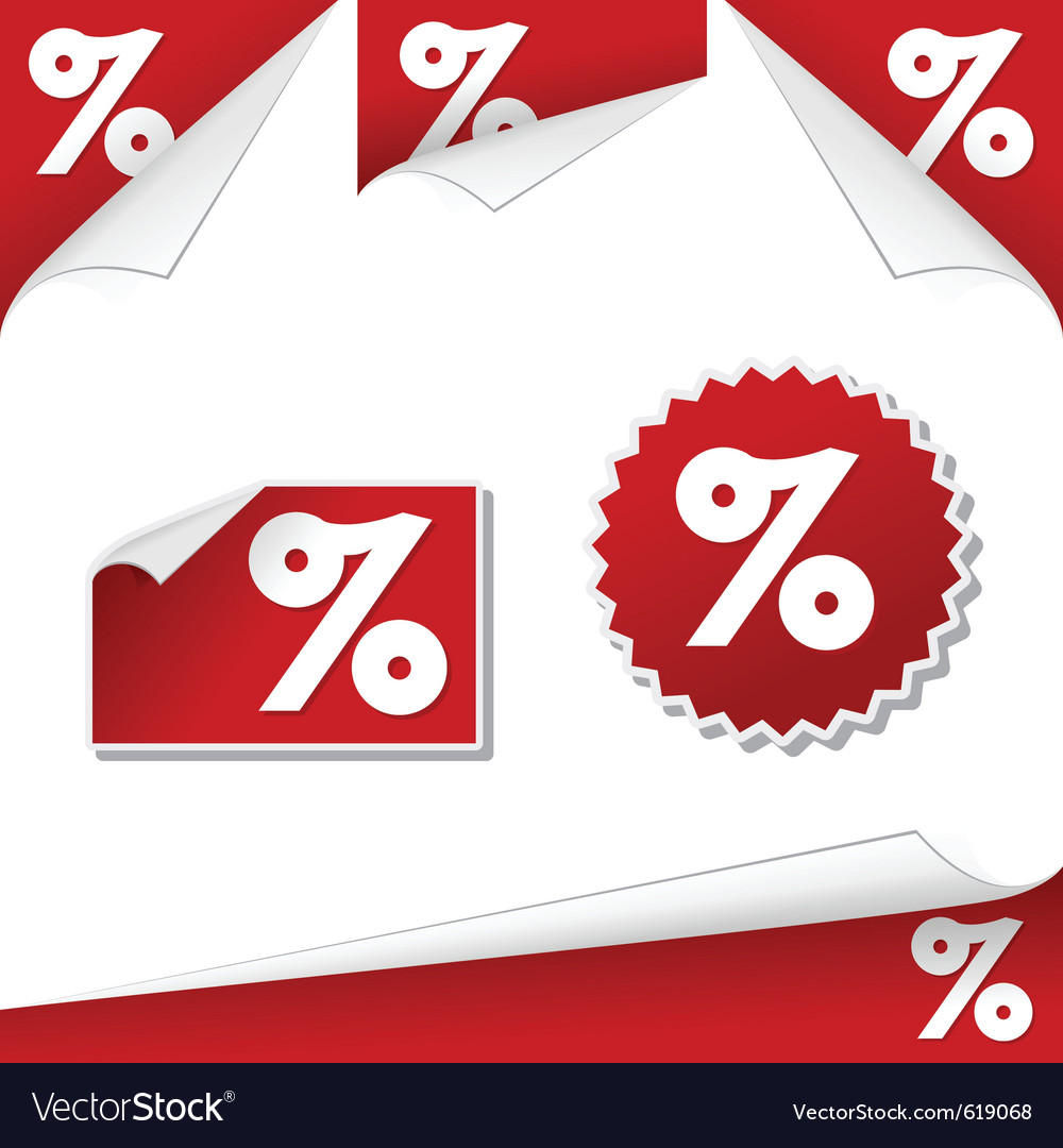 Percentage labels vector | Price: 1 Credit (USD $1)