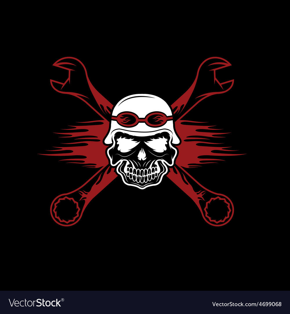 Skull in helmet and wrenches with flames vector | Price: 1 Credit (USD $1)