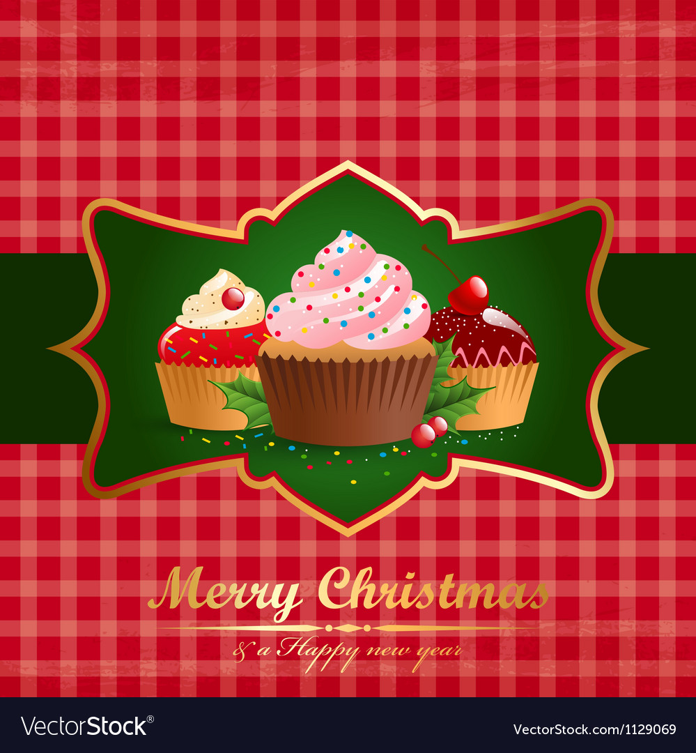 Christmas vintage background with pastry vector | Price: 1 Credit (USD $1)