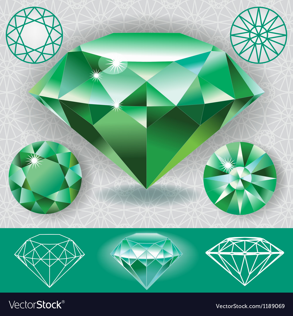 Green diamond emerald gemstone vector | Price: 1 Credit (USD $1)