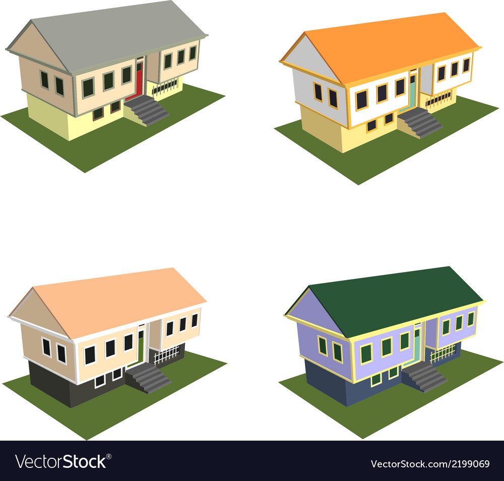 Isometric house style 2 vector | Price: 1 Credit (USD $1)