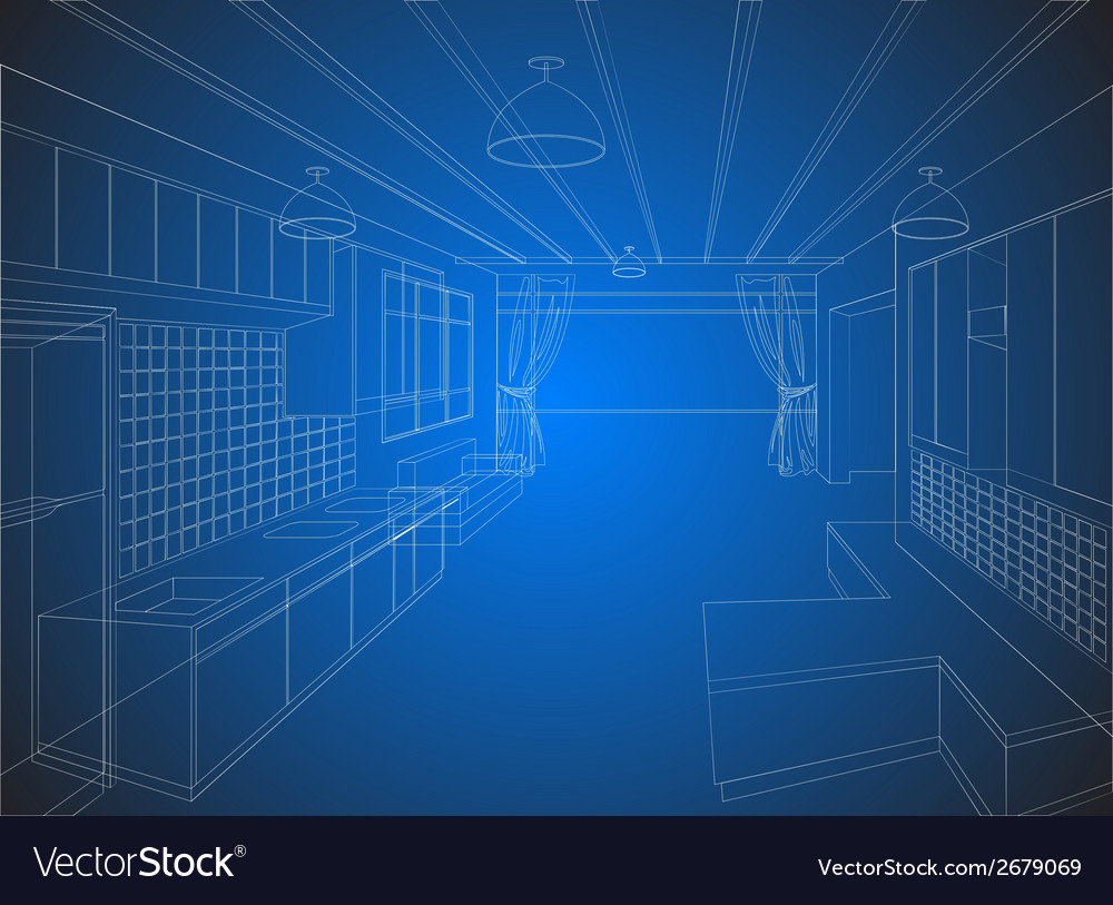 Kitchen wireframe on a blue background vector | Price: 1 Credit (USD $1)