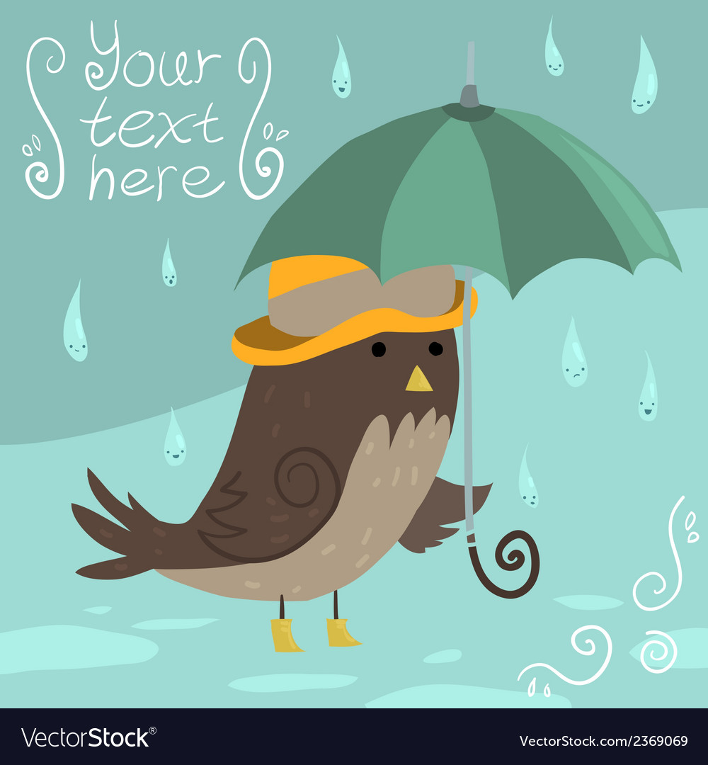 Mr sparrow with umbrella vector | Price: 1 Credit (USD $1)