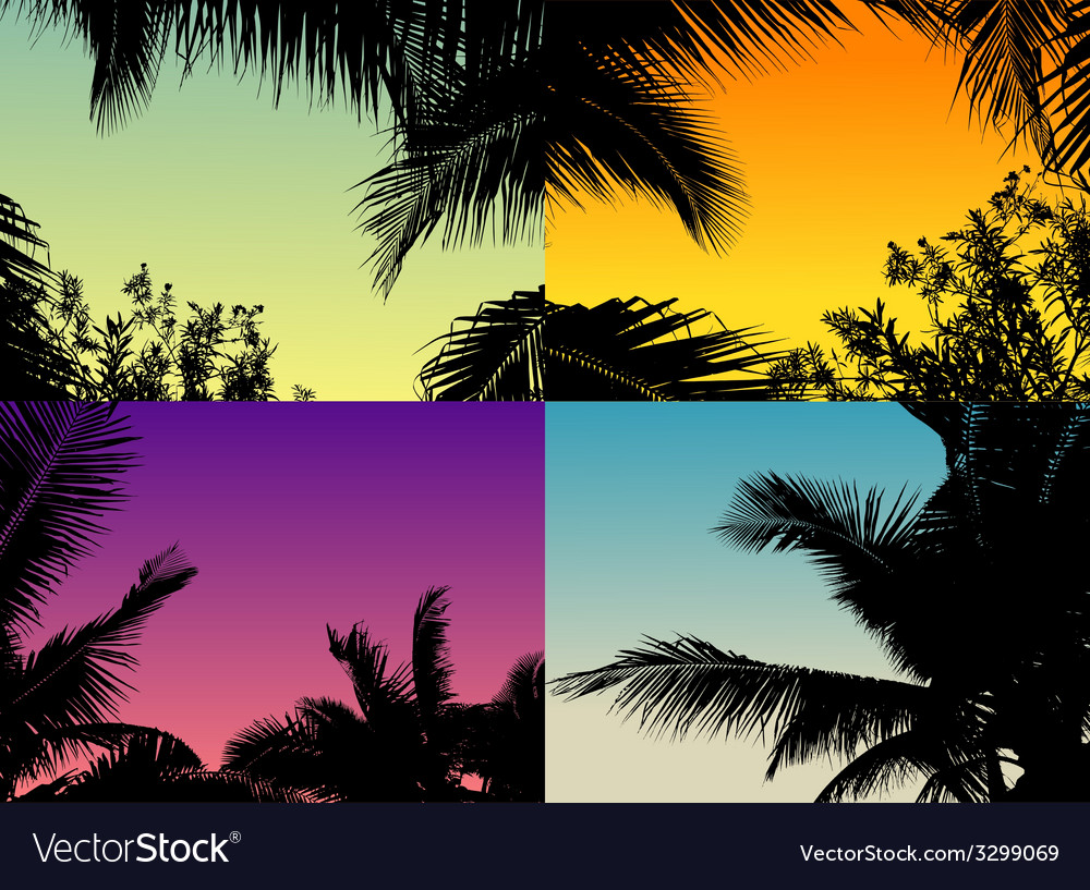 Palm tree set with twilight sky vector | Price: 1 Credit (USD $1)
