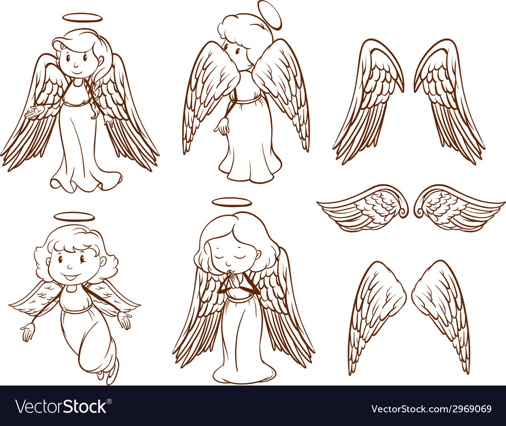 Simple sketches of angels and their wings vector | Price: 1 Credit (USD $1)