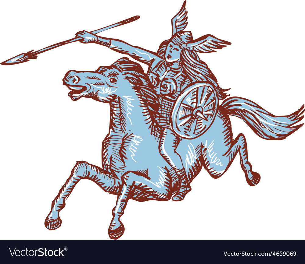 Valkyrie warrior riding horse spear etching vector | Price: 1 Credit (USD $1)