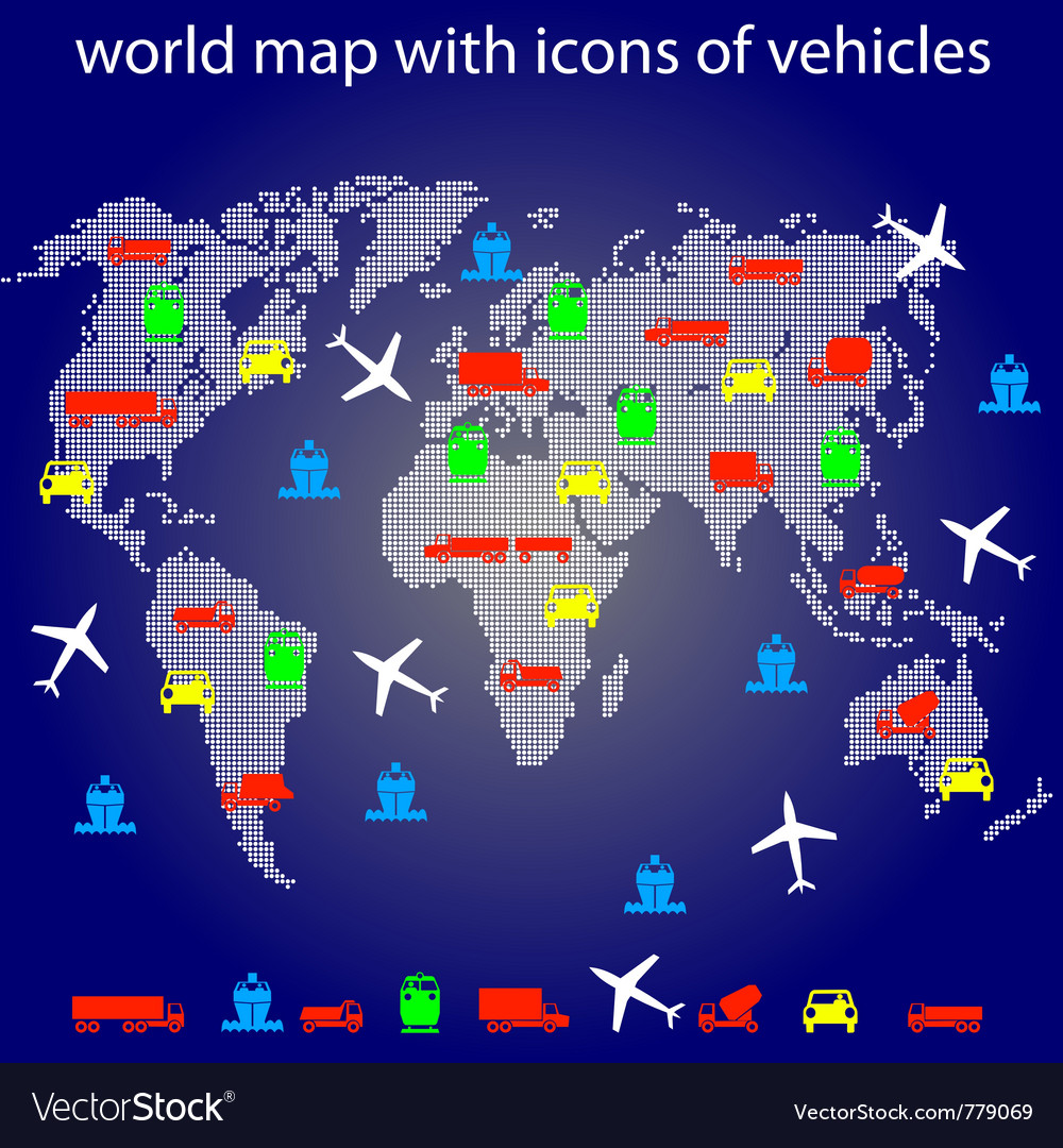 World map with icons vector | Price: 1 Credit (USD $1)