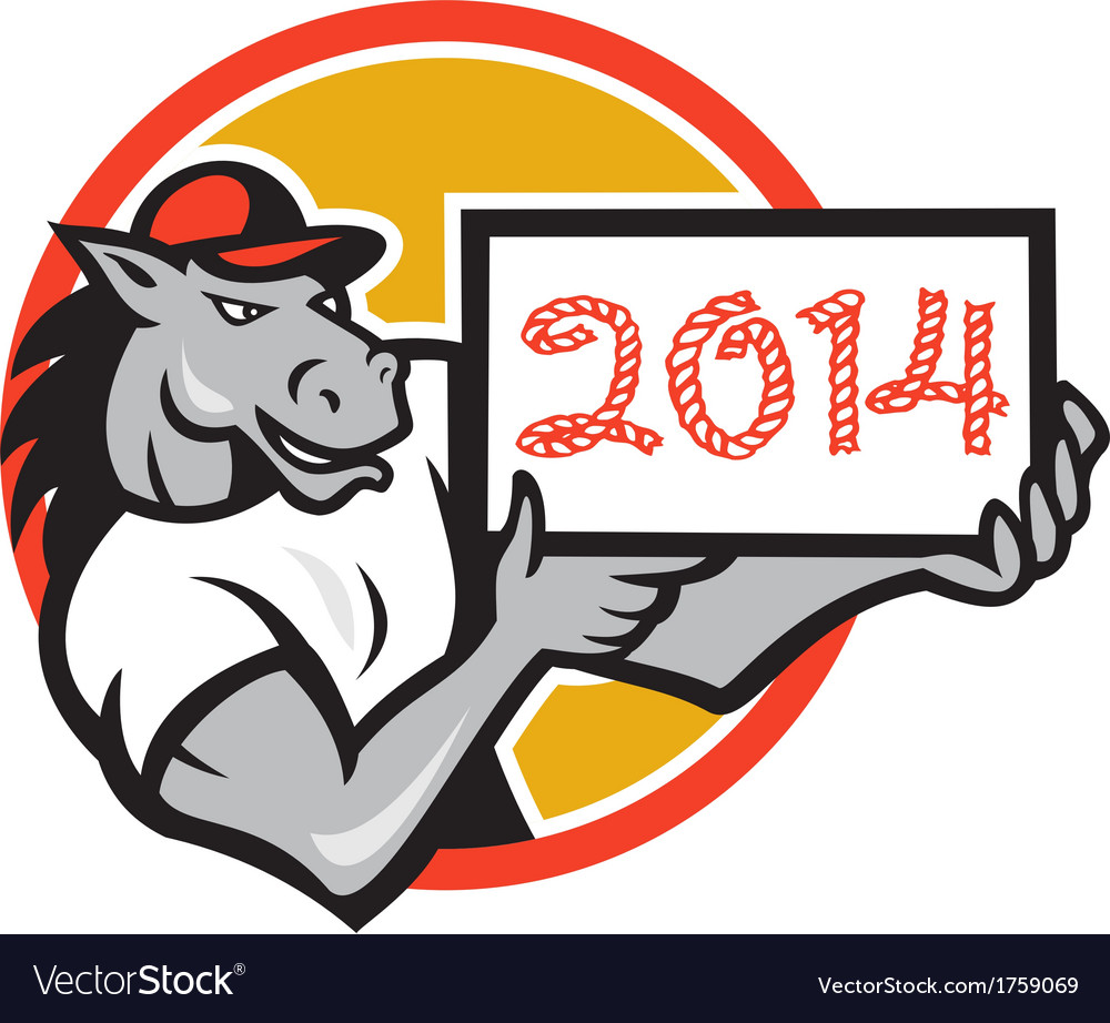 Year of horse 2014 showing sign cartoon vector | Price: 1 Credit (USD $1)
