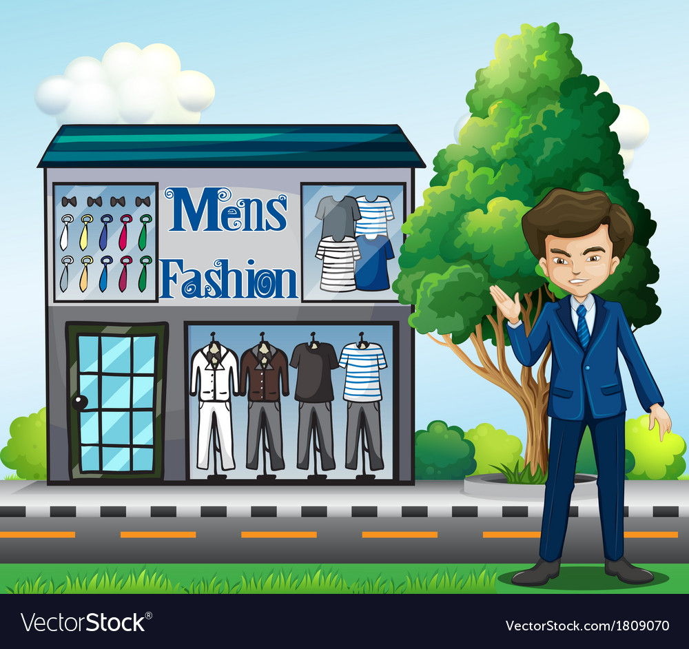 A business owner outside the mens fashion shop vector | Price: 1 Credit (USD $1)
