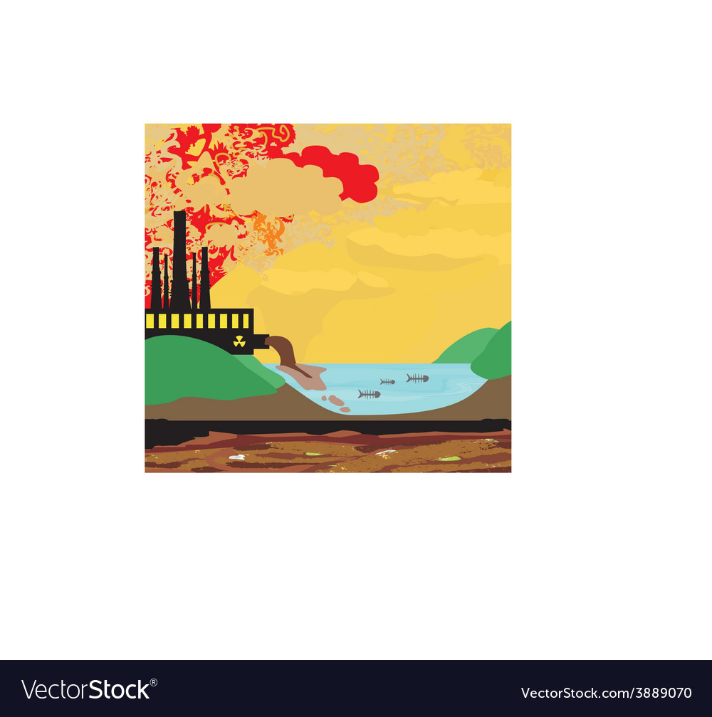 Air polluting factory chimneys vector | Price: 1 Credit (USD $1)