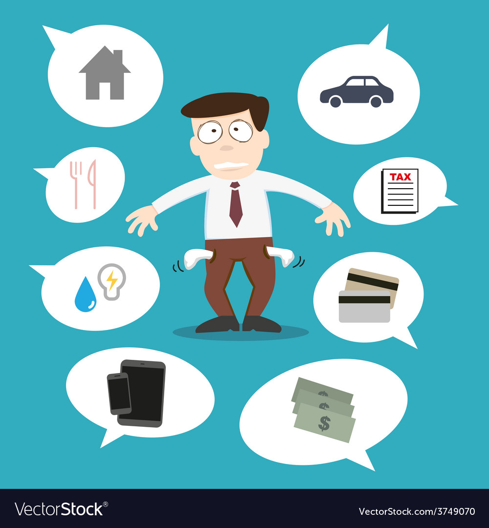 Business man with financial issue vector | Price: 1 Credit (USD $1)