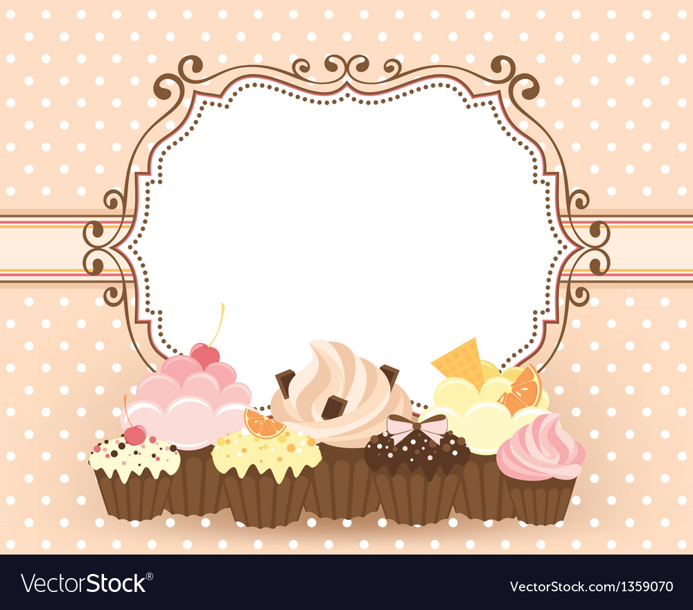 Card with muffins vector | Price: 1 Credit (USD $1)