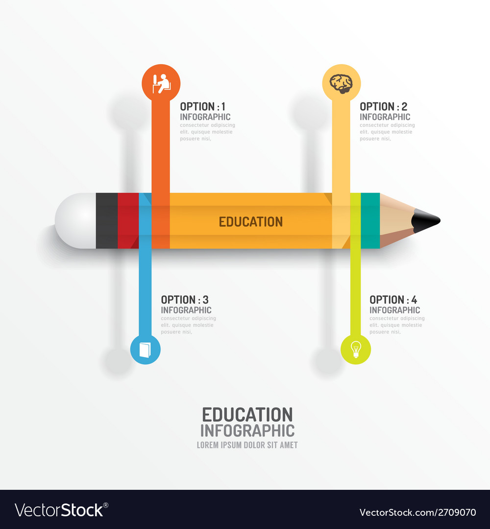 Education pencil infographics creative template vector | Price: 1 Credit (USD $1)