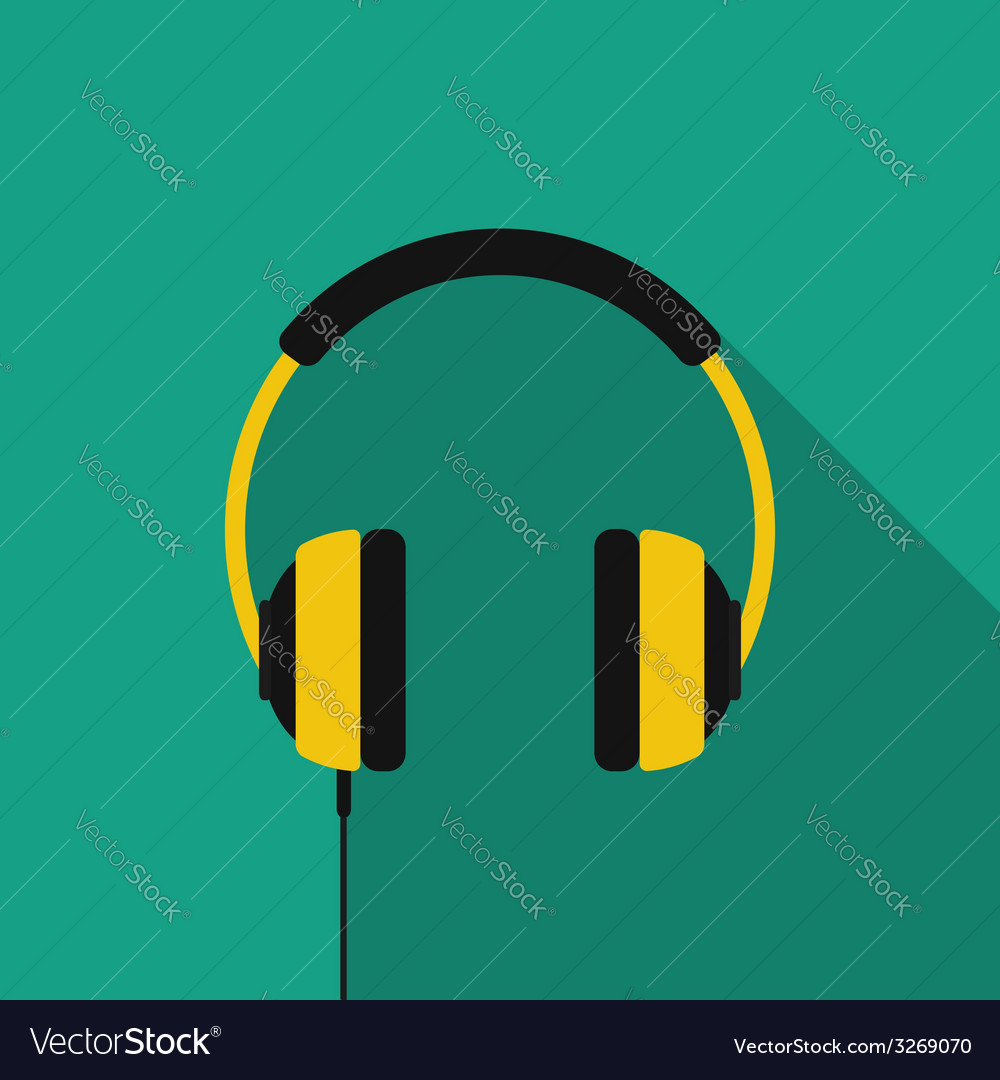 Flat headphones with long shadow icon vector | Price: 1 Credit (USD $1)