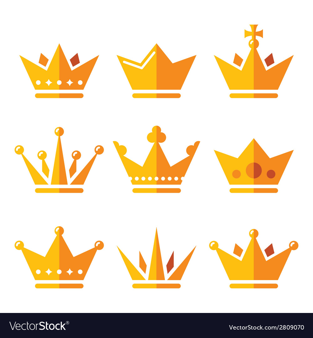 Gold crown royal family icons set vector | Price: 1 Credit (USD $1)