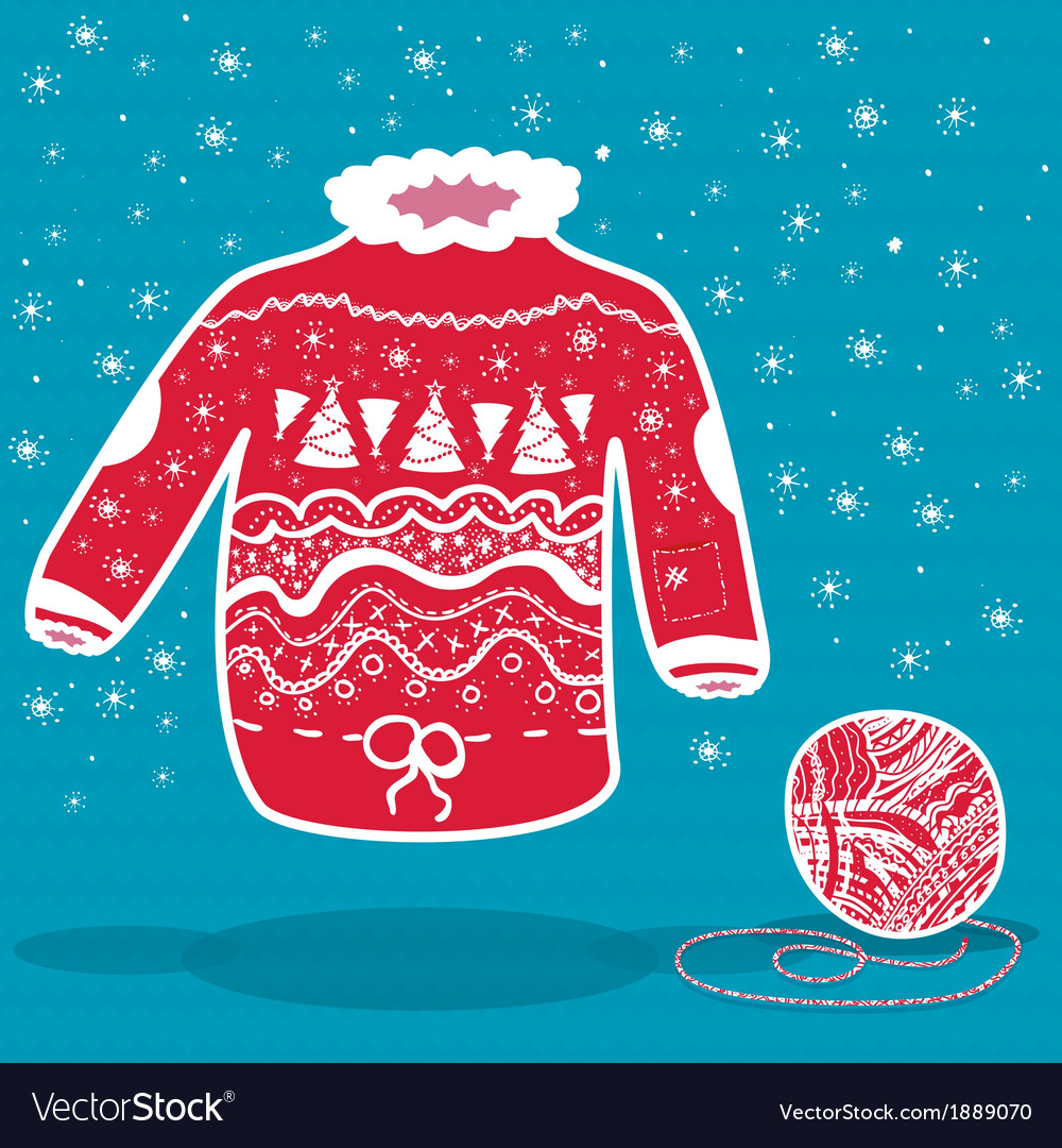 Red knitted christmas sweater and a ball of yarn vector | Price: 1 Credit (USD $1)