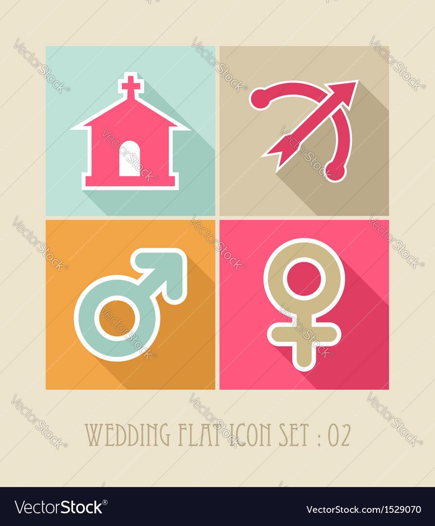 Wedding flat icon set vector | Price: 1 Credit (USD $1)